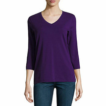NWT  STY JOHNS BAY V NECK  3/4 SLEEVE TEE TOP PURPLE  SIZE SMALL - $12.61