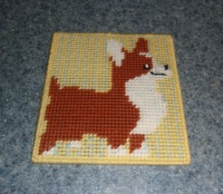 Brand New Red and White Corgi Needlepoint Sign For Dog Rescue Charity - $10.99