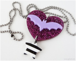Bat necklace, Laser Cut Acrylic Pendant, Stainless Steel Chain - Pastel ... - $12.00