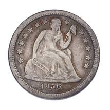 1856-O 10C Seated Dime VF Condition. Gray Color, Full Bold Liberty - $89.09
