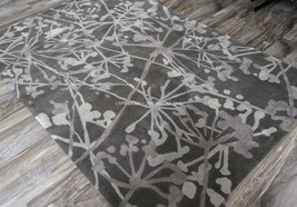 9x13 Thick Plush Modern Contemporary Abstract Silver Gray Grey Wool Area Rug - $1,299.00