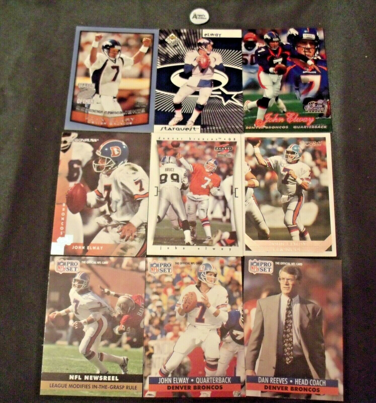 John Elway #7 Denver Broncos and Dan Reeves Trading Cards AA-19FTC3005a Vintage