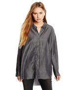NWT Womens Cheap Monday Free Shirt Button Up in Lord Black Chambray sz L - $27.71