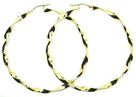 18K YELLOW GOLD CIRCLE HOOPS PENDANT EARRINGS BIG 5.6 cm x 4 mm BRAIDED, TWISTED image 3