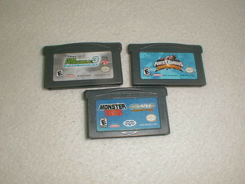 game boy advance game lot 3pc power rangers monster trucks kim possible 3 tested