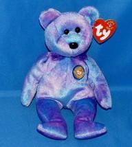 """Ty Beanie Baby Clubby Iv 8"""" Club Bear Purple Tie Dye 2001 Buy Now - $6.99"""