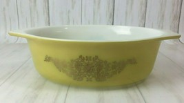 Vintage Pyrex Casserole Dish Golden Garland 1.5 Qt.  043 Yellow Gold - $10.40