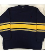 Polo Ralph Lauren Mens Sweater Crewneck Vintage Long Sleeve Blue Yellow ... - $34.45