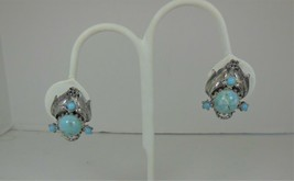 Silver Tone lucite Faux turquoise Earrings - $7.91