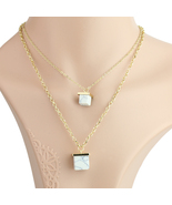 UE- Stylish Gold Tone Necklace with Trendy Faux White Marble Cube Pendants - $19.99