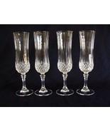 "4 LONGCHAMP Cristal d'Arques-Durand France 8"" Champagne/Wine Flute Bar G... - $23.76"
