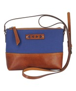 """Minimal Crossbody Bag in Navy Canvas & Genuine Leather Zips Closed 6""""H x... - $49.95"""