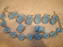 Vintage ST Baby Blue Lucite Thermoset 3 pc. Parure Necklace Bracelet Ear... - $54.99
