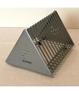 CD Storage Rack Holder Desktop Holds 14 CDs Silver Triangular Shape Tech... - $19.99