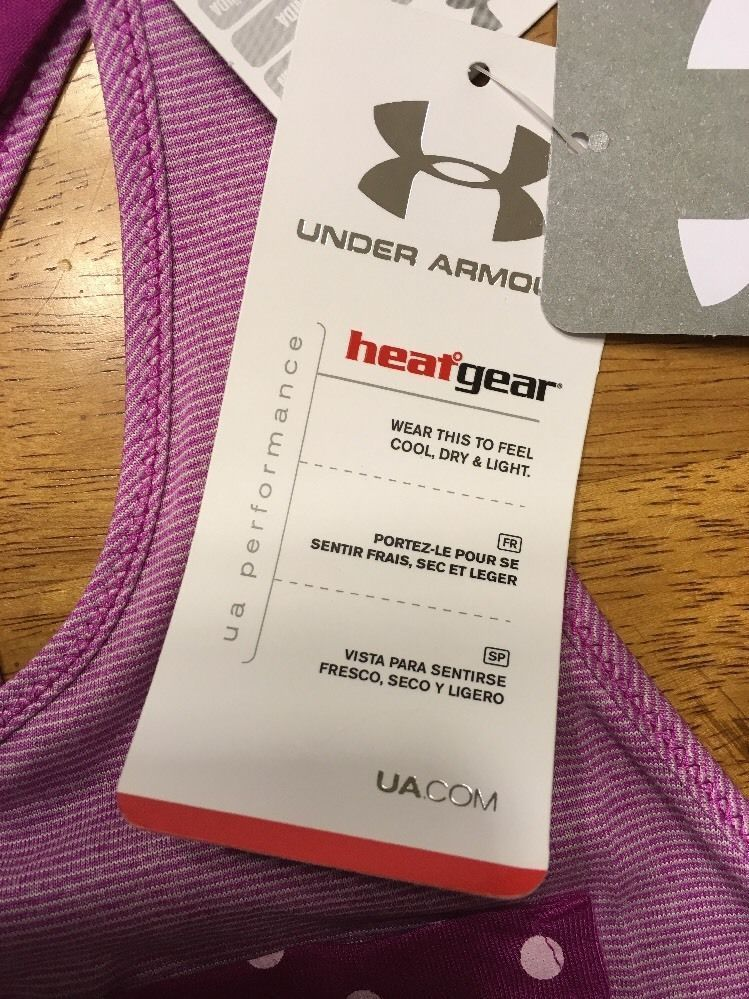 NWT Under Armour Girl's Purple Striped Heatgear Loose Tank Top - Size: Large image 10
