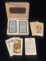 Vintage Tower Double Playing Card Faux Leather boxed set- 2 Classic Blue
