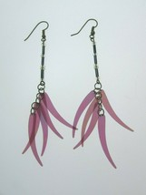 Vintage Purple Beaded Drop Dangle Earrings Pierced 31467 Plum - $17.81