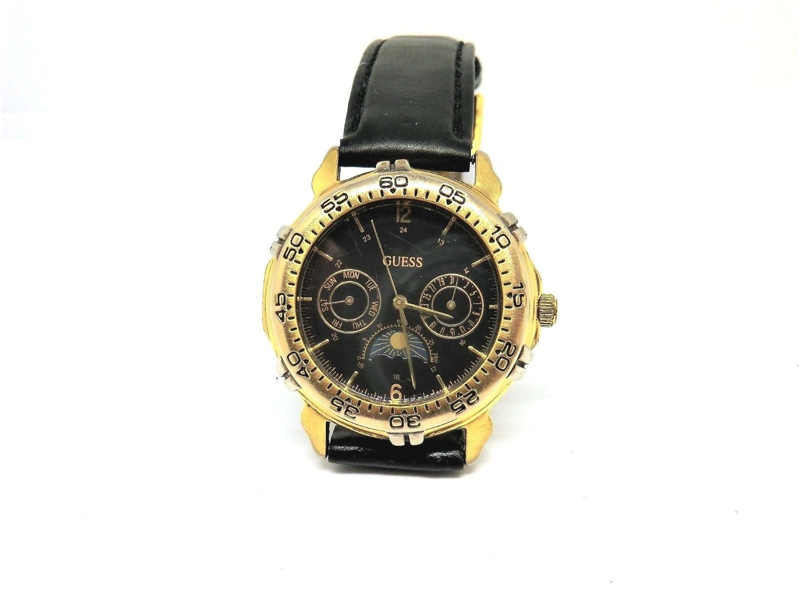 90s Retro GUESS Black Sun Moon Phase Unisex Watch Cleaned New Battery Installed - $64.35