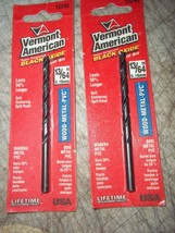 "2 Pc Vermont American Black Oxide Wood Metal Pvc Drill Bits 12246 13/64"" 3-5/8""L - $12.46"