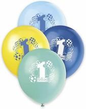 "1st Birthday Blue Green Yellow Boy Assortment 8 pk 12"" Balloons Printed - $3.26"