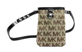 Michael Kors MK Women's Cut Out Leather Canvas Purse Belt Fanny Pack Bag 551501 image 2