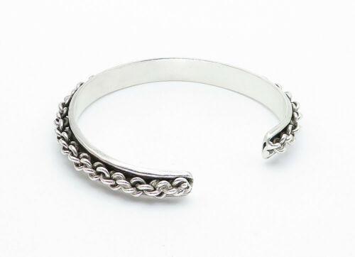 MEXICO 925 Sterling Silver - Vintage Rope Twist Detailed Cuff Bracelet - B5807