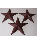"""Hearthside Collection 12"""" Burgundy Metal Accent Stars Set of 3 NEW Primi... - $13.64"""