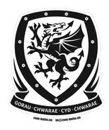 Wales crest black & white vinyl self cling window sticker 10x90cm Football - $3.44
