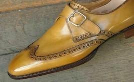 Men Monks Tan Single Buckle Strap Magnificent Premium Quality Leather Shoes - $139.55+
