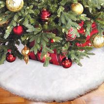 Faux Fur Christmas Tree Skirt 48 Inch White Plush Xmas Tree Skirt For Ho... - $28.97