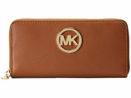 NEW! Michael Kors Fulton Large Leather Trifold Wallet Luggage - $173.13