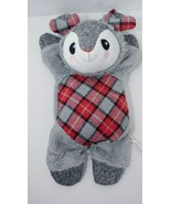 Time for Joy gray red plaid flat plush bunny crinkle squeaker stuffed do... - $9.89