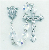 Sterling Silver Rosary made with Aurora Swarovski Crystals - $96.52
