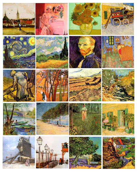 "vincent van gogh paintings abstract art collage sheet digital download 2"" square"