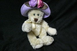Vintage Boyds Bear The Archive Collection White Bear Green Eyes Purple Hat #1364 - $12.86