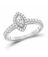 14k White Gold Marquise Diamond Bridal Wedding Engagement Ring 1 Ctw (Ce... - £1,390.50 GBP
