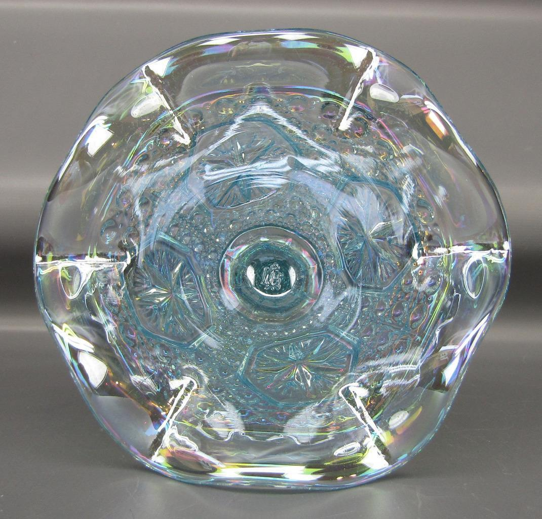 Carnival Glass - Lenox Imperial STAR MEDALLION Horizon Blue Ruffled Compote 4507