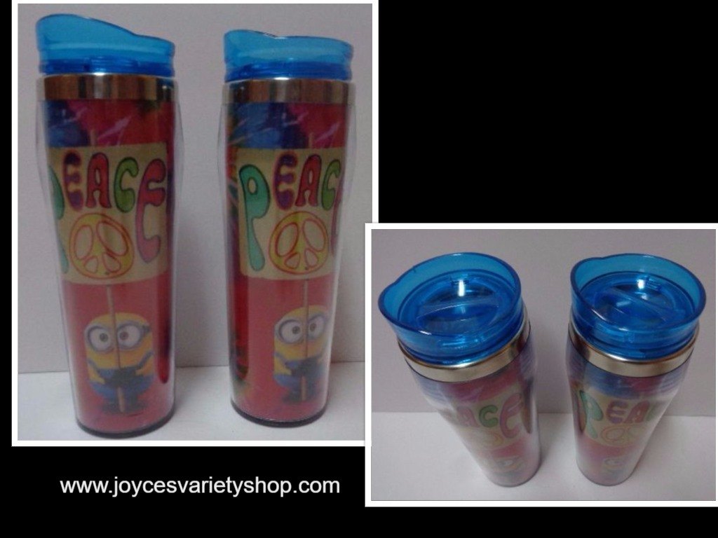 Primary image for NEW LOT 2 MINIONS Despicable Me Peace Tie Dye 16 oz Plastic Travel Cups Set
