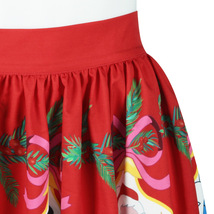 RED Christmas Print  A-line Swing Skirt Women High Waist Knee Length Flare Skirt image 5