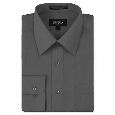 Omega Italy Men's Charcoal Dress Shirt Long Sleeve Regular Fit w/ Defect - S