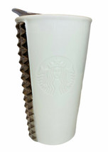 Starbucks Silver Studded White Embossed Logo Travel Mug 2014 EUC - $29.69