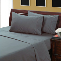 KING SIZE GRAY SOLID BED SHEET SET 800 THREAD COUNT 100% EGYPTIAN COTTON - $55.94