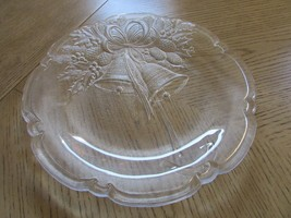 "MIKASA 14.5"" CHRISTMAS BELLS SERVING PLATTER HOLLY & BERRY W/BOW SALE - $5.89"