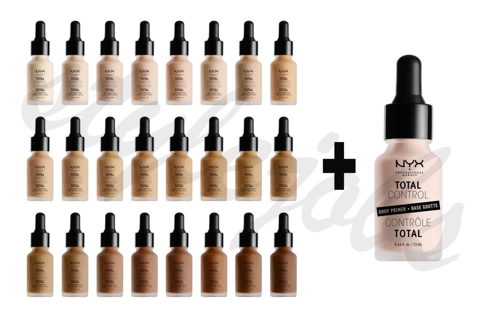 "Primary image for NYX Total Control Drop Foundation TCDF & Primer TCDP SET ""Pick 1 Color"""