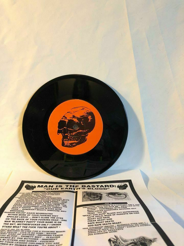 "Record 7"" Vinyl Man Is The Bastard  Charred Remains  Our Earth's Blood 1993"