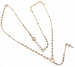 """18K ROSE GOLD 18"""" ROSARY NECKLACE MIRACULOUS MEDAL CROSS DIAMOND CUT BALLS 2mm image 1"""