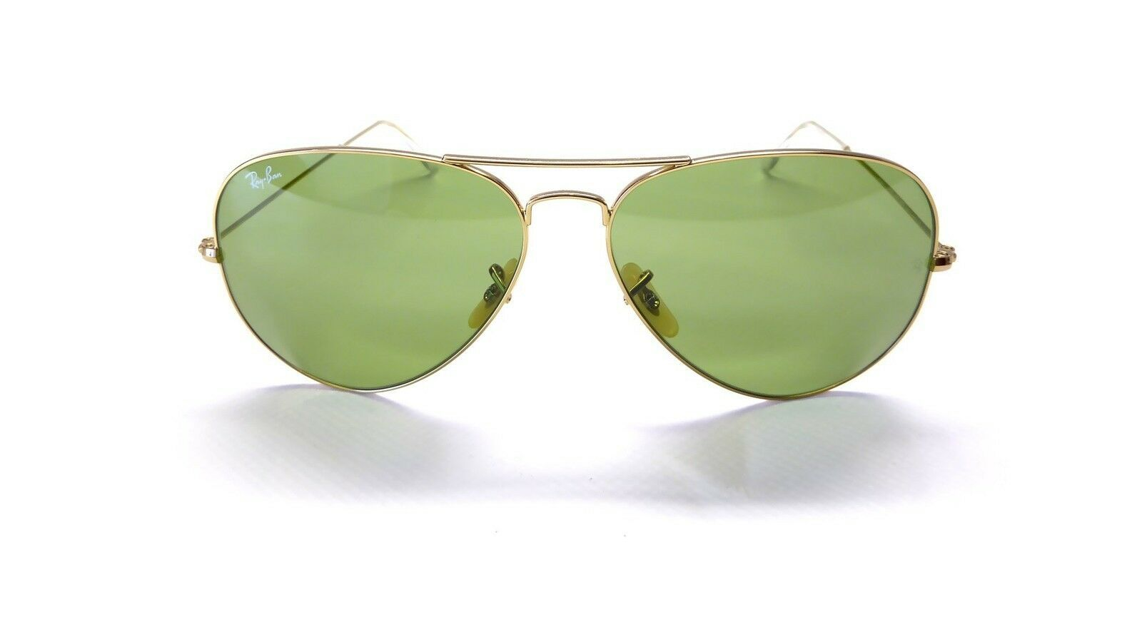 New Ray Ban Legends Collection Aviator RB3025 001/14 55mm Gold w/Crystal Green