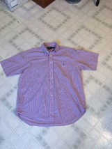 Men's Ralph Lauren Blake Pink Blue Checked Sz Large Short Sleeve Dress S... - $17.61
