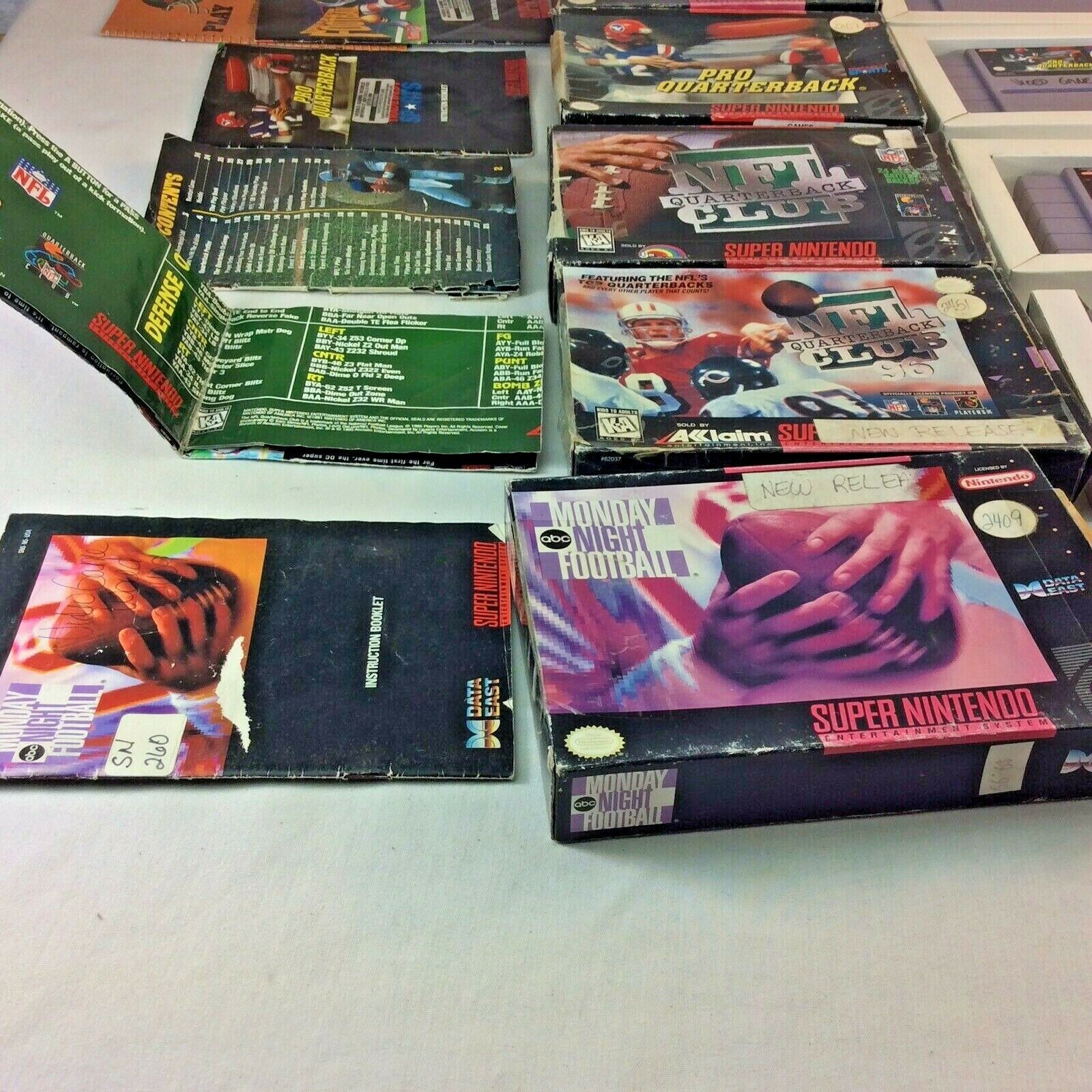 SNES Game Lot NFL Quarterback Club Monday Night Football Super Play Action Boxes image 6