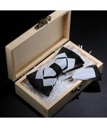 Men Brooch Pin Kit Black White Feather Fashion Solid Youth Bow Tie Gift ... - $18.04+